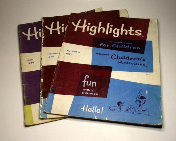 Vintage Highlights Childrens Magazines Set of 3