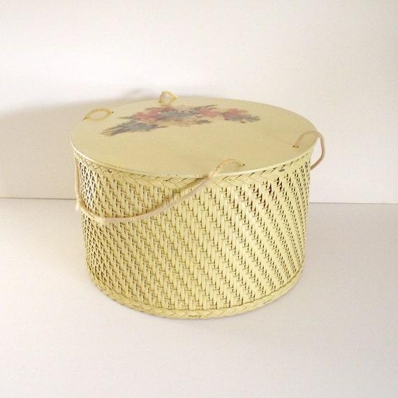 Vintage Wicker and Wood Sewing Box or Basket