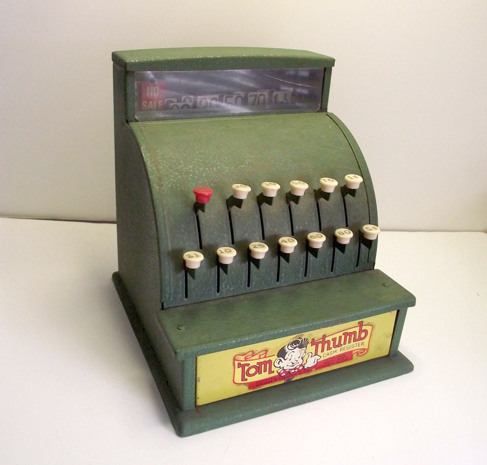 Toy Cash Register : Vintage tom thumb toy cash register