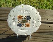 Marble Plate Pietra Dura Design Inlaid Semi-Precious Stones - Handmade