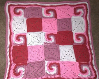 spiral crochet baby blanket - ready to ship