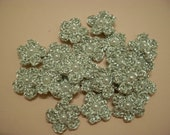 Metallic Silver Crochet Flower Applique - 10pcs