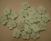 Crochet Flower White Applique  - 20pcs