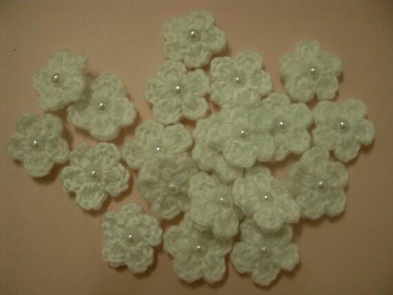 Crochet Flower White Applique  - 20pcs