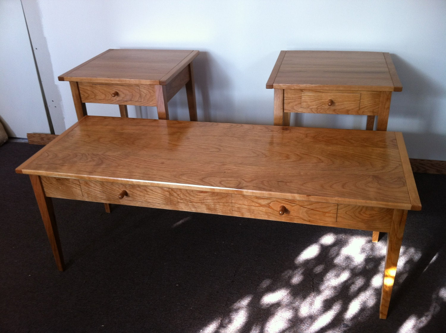 Three Piece Shaker Coffee Table And Matching End By Jorjwood