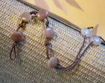 Knotted brown bead bracelet