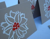 Gift Cards - Note Cards - Hand Printed on Recycled Kraft Card Stock - Christmas Poinsettias - Set of 5