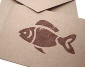 Fish - Note Cards - Gift Cards - Thank You Cards - Hand Stamped Brown Kraft Card Stock - Stationery