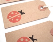 Gift Tags - Hang Tags - Brown Kraft Card Stock - Handmade - Ladybug - Set of 10