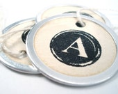 Round Metal Edge Hang Tags - Vintage Style Tea Stained - Typewriter Key Letters - Rustic