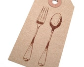 Fork and Spoon Gift Tags - Culinary - Bridal Shower - Kitchen - Flatware - Kraft Paper