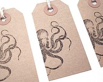 Octopus Gift Tags - Kraken - Hand Stamped Kraft Paper