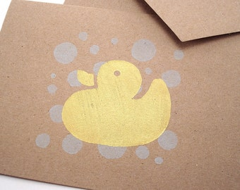 Rubber Duck - Baby Shower Cards - Gift Cards - Hand Stamped Kraft Card Stock - Stationery