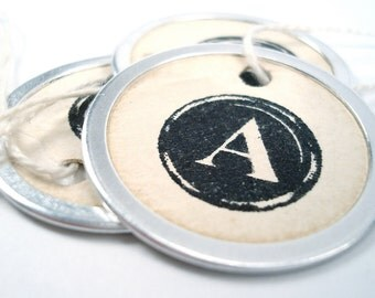 Metal Rim Tags - Round Typewriter Key Letters - Vintage Tea Stained Gift Tags