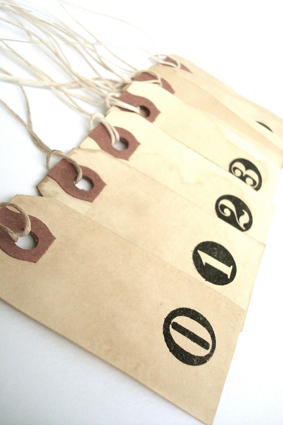 Typewriter Key Number Tags - Distressed Vintage Style Like Tea Stained Tags - Gift Tags - Handmade - Set of 10