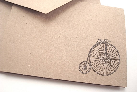 Penny Farthing - High Wheel Bike - Vintage Bicycle Note Cards - Thank you - Gift Cards - Hand Stamped Brown Kraft Card Stock