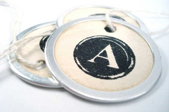 Metal Rim Tags - Round Gift Tags - Typewriter Key Letters - Tea Stained