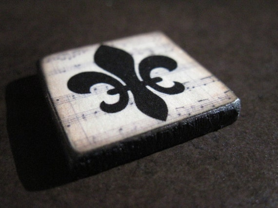 Fleur de lis FRENCH Custom Drilled Ephemera Tile 1X1 EXCLUSIVE