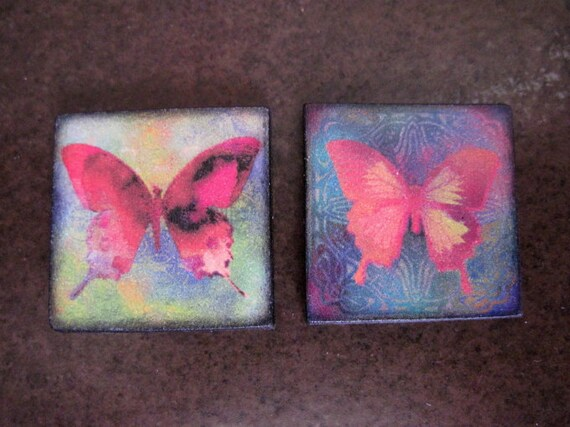 BUTTERFLY Charm Pendant set 1X1 Custom Drilled Ephemera Tile