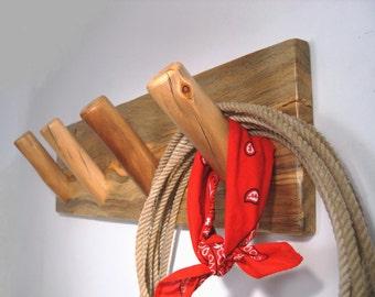 Beetle Kill Pine and Aspen Log Coat Rack - Wall Coat Rack with Log Peg Hooks - Rustic Log Furniture Decor