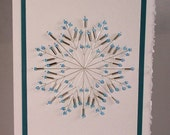 Hand Stitched Beaded Snowflake Greeting Card