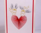 Hand Stitched Angels and Heart Greeting Card