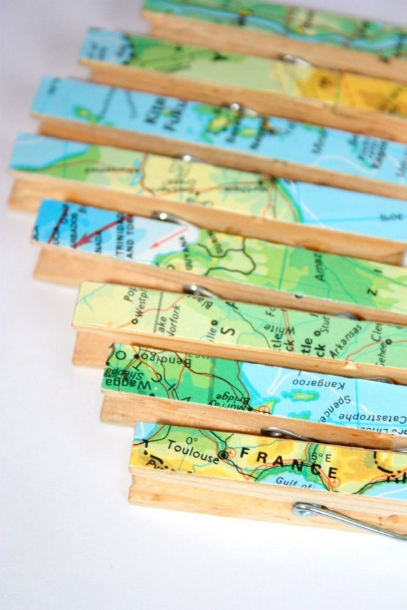 Clothes pins covered with repurposed maps - 8 pins with original maps