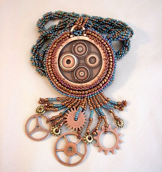 Steampunk Teal and Copper Beadwoven Necklace - Reserved