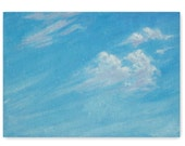 Breezy day, original oil painting, small, clouds, blue sky, 5x7