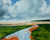 Original painting, 'Holkham Beach, Norfolk', oil painting, landscape, sky, seashore, beach, clouds, 16x20