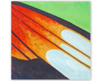 Orange wing, abstract, acrylic, small abstract art, butterfly, original painting, 5x5 inches