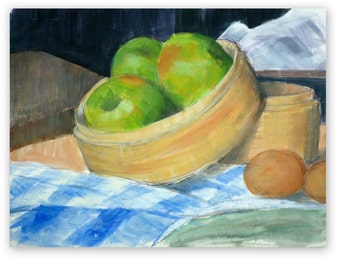 Original painting, 'Cooking apples (Bramleys)', acrylic, still life, fruit, autumn, kitchen, 12x16