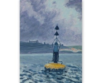 Original painting, 'The Whitby buoy', acrylic, landscape, sea, 7x9
