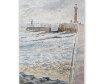 Whitby pier, original painting, acrylic, sketch, seascape, 11x15 inches
