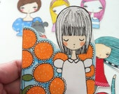 Girl Stickers, original hand drawn and color, set of 9