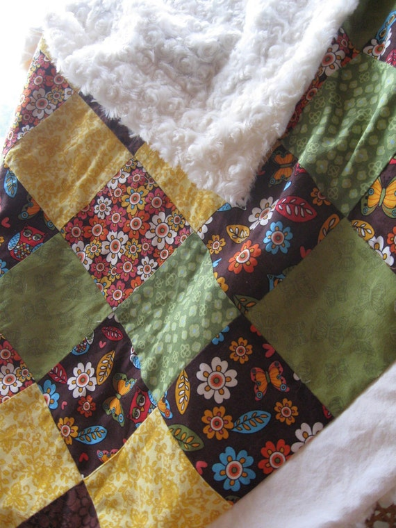 Minky Blanket - Green, Yellow, Brown with Owls and Flowers Patchwork Front with a White Minky Back