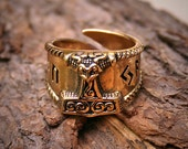 VIKING Ring . Thors HAMMER . Runic Inscription . Bronze . Large