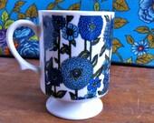 cute vintage blue floral mug made in japan, holt howard maker