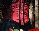Victoriana Red Steel Boned Taffeta Underbust Corset, Custom Made to Your Measurements, Gothic, Victorian, Burlesque, Vampiric, FREE Halloween Gift