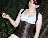 Steampunk Adventurer Corset Steel Boned Custom Made Faux Leather Underbust with detachable straps Neo-Victorian