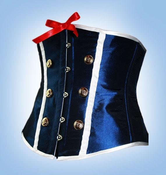 Reserved for Georgia Bleu Navy Sailor Girl Underbust Steel Boned Corset, Custom Made, Burlesque, Rockabilly, Pin-Up,