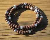 Wood and Silver Serenity Necklace/Bracelet