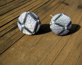 Grey Crosshatch Upcycled Fabric Button Earrings