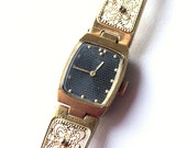 Ladies wristwatch Luch from Belarus Soviet Union era, gold covered watch, gold color watch womens watch