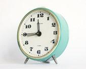 Vintage alarm clock Jantar from Soviet Union era turquoise color clock