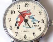 Vintage watch Zaria from Russia Soviet Union hockey skaters