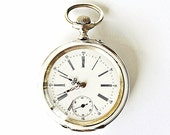 Antique Swiss silver pocket watch Remontoir Ancre ligne droite Spiral Breguet 16 Rubis FREE shipping