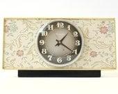 Rare Vintage table clock Molnija from Russia Soviet Union clock clock with flowers