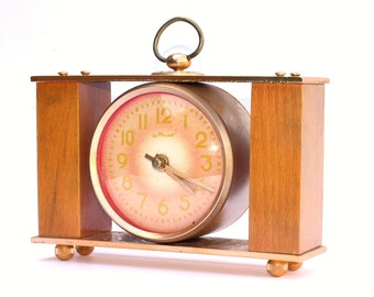 Wooden clock Majak from Russia Soviet Union era, table clock