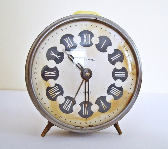 RESERVED FOR callalabella Vintage Russian mechanical alarm clock Jantar from Soviet Union period Non working